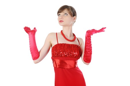 Beautiful girl in red gloves raised their hands. Isolated on white background Stock Photo - 8061595