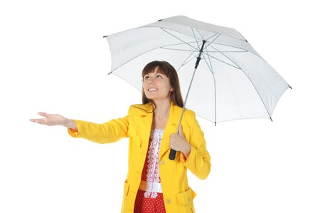 yellow jacket: beautiful smiling girl in  in a yellow raincoat with umbrella.  Isolated on white background