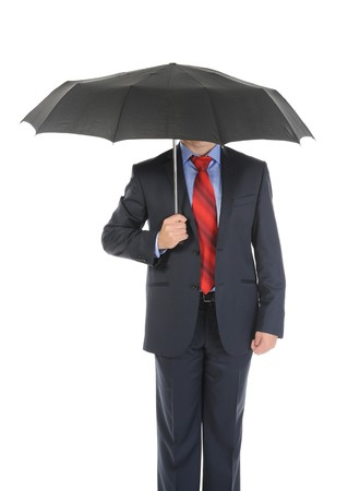 Image of a businessman with umbrella. Isolated on white background Stock Photo - 8061675
