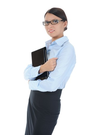 brunette businesswoman with laptop. Isolated on white background Stock Photo - 8061667