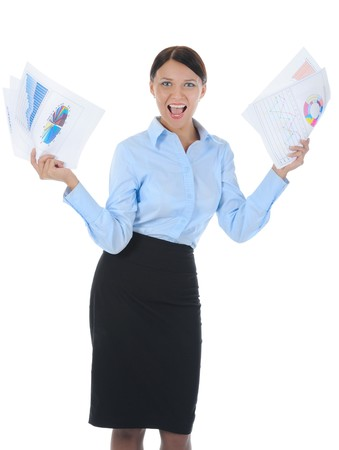 brunette businesswoman keeps schedule. Isolated on white background Stock Photo - 8061669