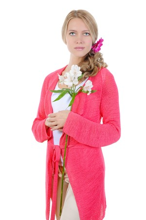 beautiful girl with flowers. Isolated on white background  photo