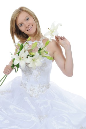 bride with a bouquet. Isolated on white background Stock Photo - 8061852