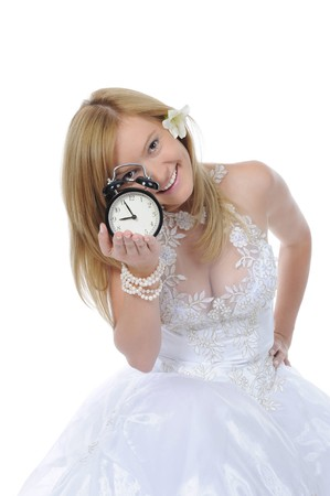 Bride of the alarm clock. Isolated on white background Stock Photo - 8061854