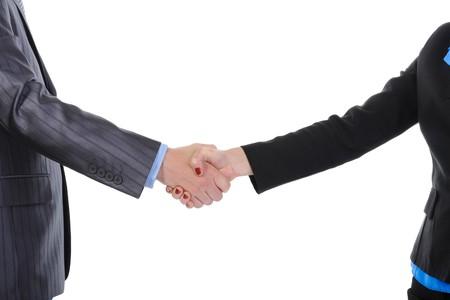 Handshake men and women. Isolated on white background photo