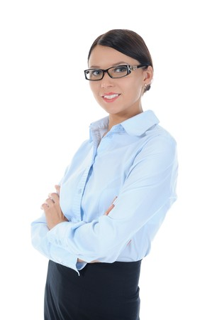Portrait of a young businesswoman. . Isolated on white background photo