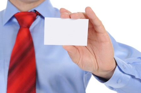 Image of a businessman holding a blank in the hand. Isolated on white background Stock Photo - 8061882