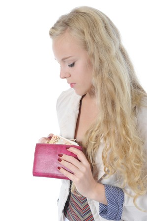 Blonde woman pulls from her purse euro banknotes. Isolated on white Stock Photo - 8062005