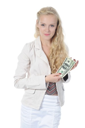 Long-haired young woman holding a dollar bill hundred dollars. Isolated on white background Stock Photo - 8061983