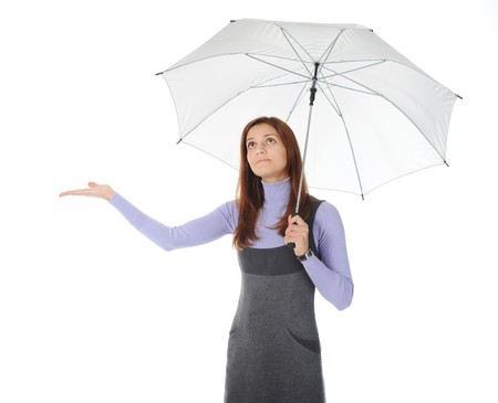 Image of a girl with umbrella. Isolated on white background Stock Photo - 8061964