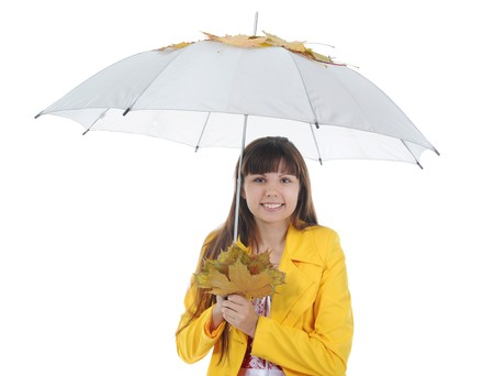 beautiful smiling girl in  in a yellow raincoat.  Isolated on white background photo
