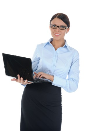 brunette businesswoman with laptop. Isolated on white background photo