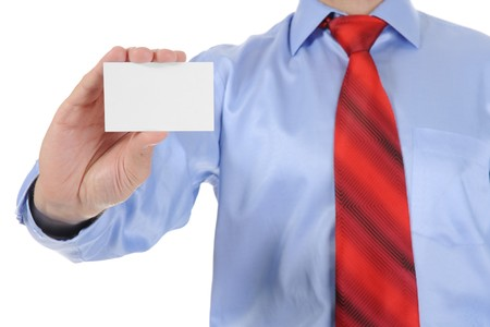 Image of a businessman holding a blank in the hand. Isolated on white background Stock Photo - 8133690