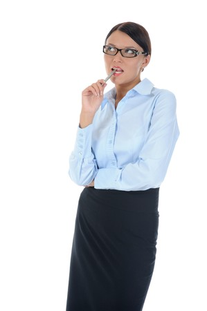 Portrait of a young business woman. . Isolated on white background photo