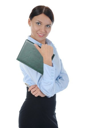 businesswoman holding a note book. Isolated on white background photo