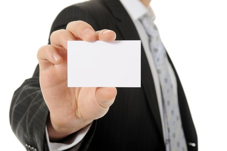 Image of a businessman holding a blank in the hand. Isolated on white background Stock Photo - 8133719
