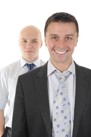Portrait of two businessmen in a business suit. Isolated on white background photo