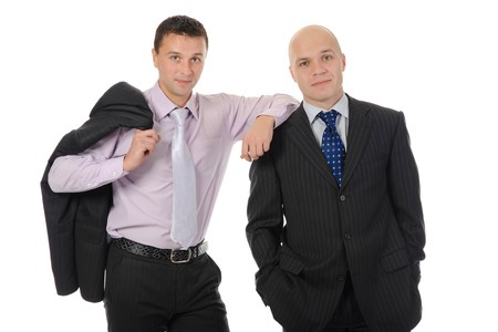 two businessmen in a business suit. Isolated on white background photo