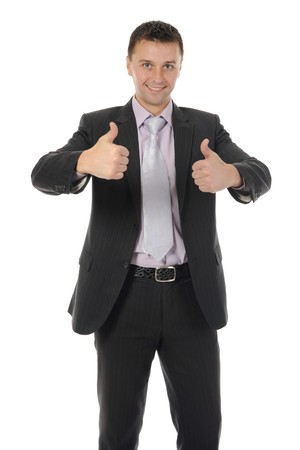 whitem: happy smiling businessman in a business suit. Isolated on white background Stock Photo
