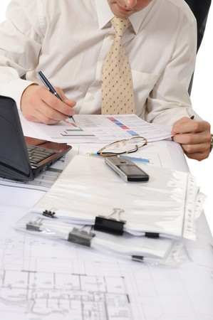 business person hands working with document photo