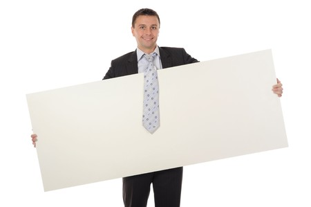 young man holding blank sheet Stock Photo - 8181956