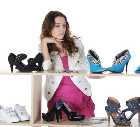woman choosing shoes at a store Stock Photo - 8181987