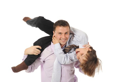 lucky son sitting on his father stretches Stock Photo - 8181975