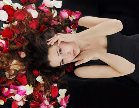 beautiful brunette in rose petals Stock Photo - 8182024
