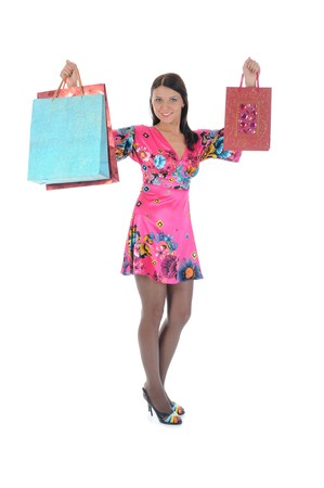Beautiful girl with shopping bags photo