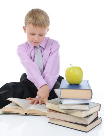 Boy reading a book photo