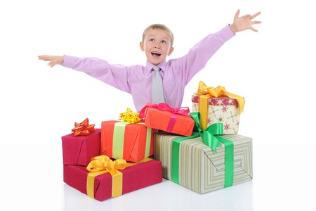 boy with a bunch of gifts photo