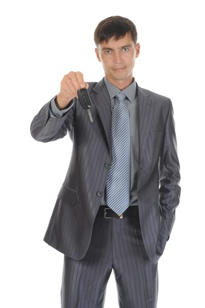 Businessman gives the keys to the car Stock Photo - 8182113