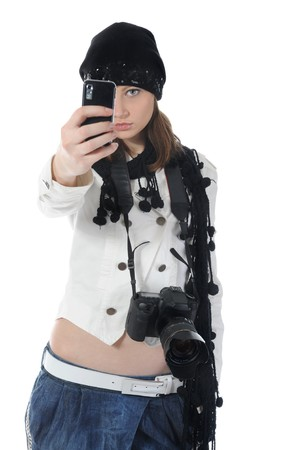 woman holds a camera photo