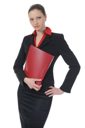 businesswoman holding documents photo