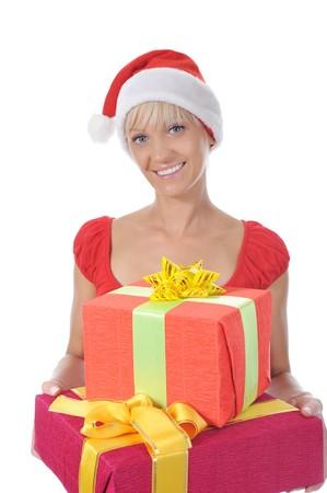 Beautiful christmas woman. photo
