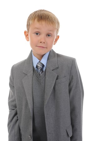 Boy in einem Business-Anzug Stockfoto - 8182292