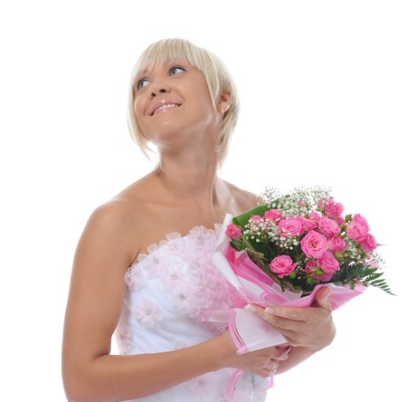 Happy bride with a bouquet photo