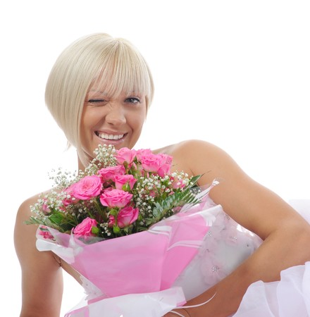 Happy bride with a bouquet Stock Photo - 8182248