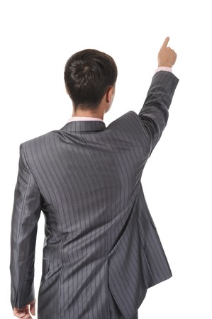 back  view: Businessman points finger up