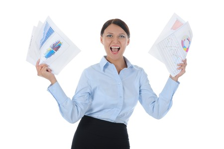 businesswoman holding documents Stock Photo - 8182232