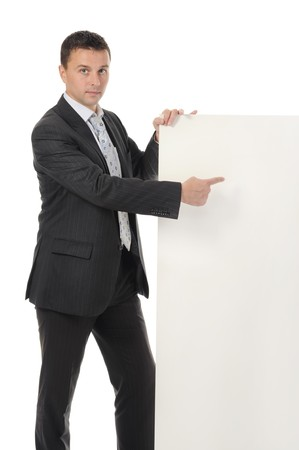 young man with blank sheet photo