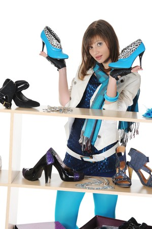 woman choosing shoes at a store Stock Photo - 8182267