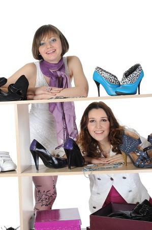 woman choosing shoes at a store Stock Photo - 8182285