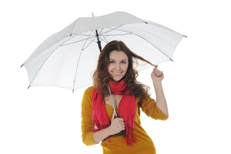 woman handle success: Image of a businessman with umbrella
