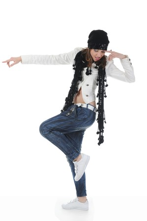 Young woman dancing hip-hop photo