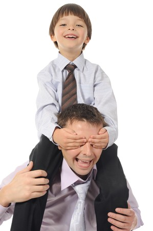 lucky son sitting on his father stretches Stock Photo - 8259880