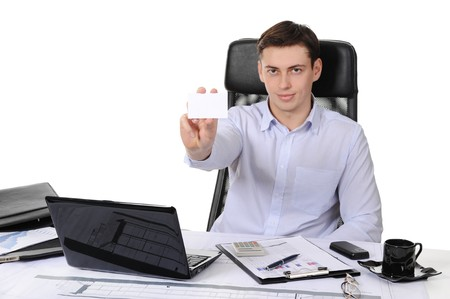 man handing a blank Stock Photo - 8259877