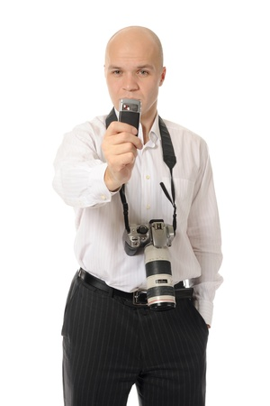 man holds a camera photo