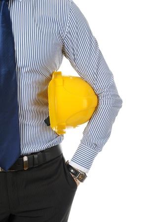 helmet safety: man with construction helmet Stock Photo