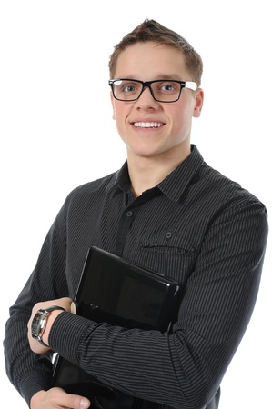 portrait of a smiling young man with laptop photo